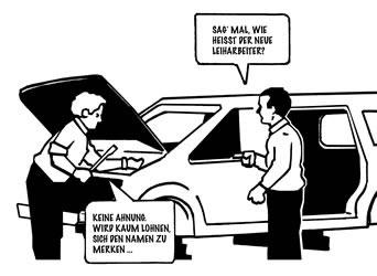 Leiharbeit in der Autoindustrie. Grafik von Findus - wir danken!