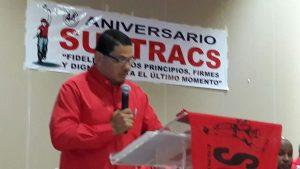 Saul Mendez, Generalsekretär der Baugewerkschaft SUNTRACS in Panama bei seiner Rede zum 44. Jahrestag der Gewerkschaftsgründung am 11.9.2016