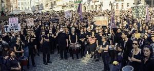 Gegen Abtreibungsverbot Demo Warschau 3.10.16