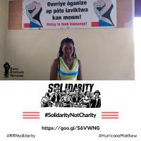 Das Kampagnenplakat für Haiti: Solidarität statt Mildtätigkeit, Oktober 2016