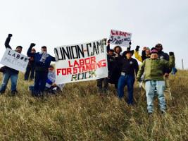 Gewerkschafter beim Standing Rock-Protestcamp am 28.10.2016