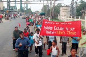 Demonstration der streikenden Zuckerarbeiter auf Guyana 17.10.2016
