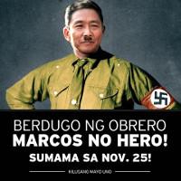 Plakat des Gewerkschaftsbundes KMU gegen die Ehrung Marcos durch die philippinische Regierung November 2016