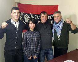Auf der Konferenz unabhängiger ukrainischer Gewerkschaften gegen das neue Arbeitsgesetz Dezember 2016