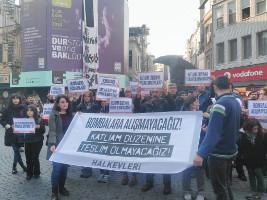 Katliam düzenine teslim olmayacağız! - Wir werden gegenüber einem System von Blutvergießen nicht kapitulieren! Protestaktion der Halkevleri am 11. Dezember 2016 (sendika.org)
