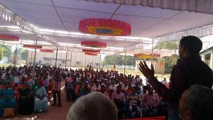 Konferenz des alternativen gewerkschaftlichen Netzwerkes Masa im indischen Bundesstaat Telengana im November 2016