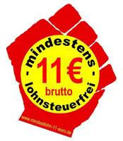 Kampagne: Für einen steuerfreien Mindestlohn von 11 Euro