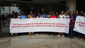 Erster Streiktag bei Shell Gabun am 12.1.2016 - zwei Tage vor Eröffnung der Afrikameisterschaft