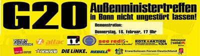 Breites Bündnis ruft zur Demo gegen das G20-Außenministertreffen am 16. Februar 2017 in Bonn auf