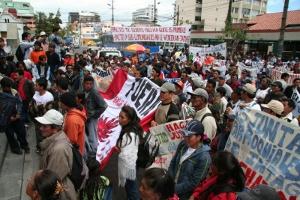Demonstration gegen chinesisches Bergbau-Großprojekt in der ecuadoriansichen Hauptstadt Quito September 2016