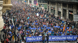 Demo für Flüchtlingsaufnahme in Barcelona am 19.2.2017 mit rund 250.000 Menschen
