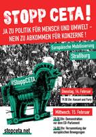 15. Februar: CETA-Entscheidung im Europaparlament! Kommt für den 14. und 15. Februar nach Straßburg!