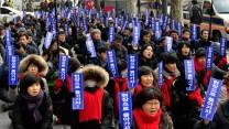 Demonstration der südkoreanischen Metallgewerkschaft gegen Werften-Umstrukturierung Februar 2017