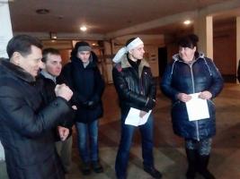 Kiewer Busfahrer im Hungerstreik für Gewerkschaftsanerkennung im Februar 2017