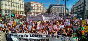 Demonstration in Madrid beim Bildungsstreik am 9.3.2017