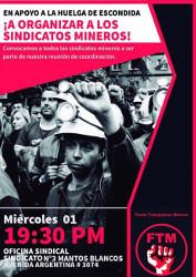 Solidaritätsplakat mit dem Streik bei der grössten chilenischen Kupfermine am 1.3.2017