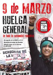 Streikplakat der spanischen Studierendengewerkschaft für den 9. März 2017