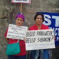 Protest vor dem Arbeitsministerium in Manila - für das verbot der Leiharbeit im März 2017