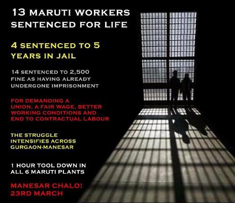 Soliplakat Suzuki Indien mit den 13 zu lebenslänglicher Haft verurteilten Gewerkschafter am 18.3.2017