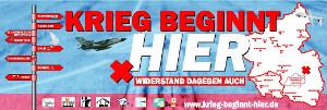Das Plakat zur Kampagne 2017 Krieg beginnt hier mit Auftakt am 25.3 bei Diehl