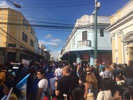 Eine der vielen täglichen Demonstrationen in Guatemala Stadt im März 2017 nach dem tödlichen Brand im Jugendheim