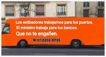 Werbebus der Dockergewerkschaft in Madrid für den Streik im März 2017