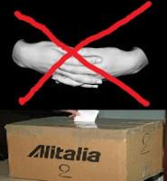 USB Plakat nach der Abstimmung der Alitalia gegen Krisenplan am 25.4.2017