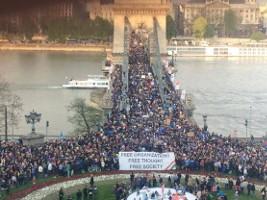 Die Demonstration zum Erhalt der CEU in Budapest am 9.4.2017