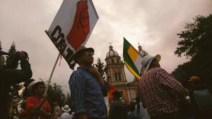 Demonstration für ein Nein bei dem Goldbergbau-Referendum in Cajamrca, Kolumbien am 15.3.2017
