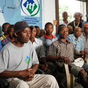 Protestversammlung gegen die Entlassung von 43 Hafenarbeitern in Tananarive am 11.4.2017