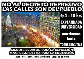 Plkat zur Mobildierung am 6.4.2017 Demonstration gegen das Anti-Streikpostengesetz der linken Regierung Uruguays