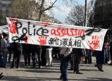 Foto von Bernard Schmid von den Protesten gegen die Pariser Polizei am Sonntag, den 2. April 17 in Paris - wir danken!
