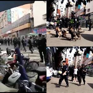 Chinesische Polizei bei Stihl gegen streik am 27.6.2017