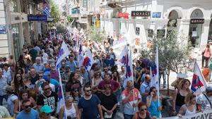 Demonstration während des Hotelstreiks - Athen 20.7.2017