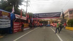 Protestcamp von drei Gewerkschaften in Manila ab dem 10.7.2017 - gegen Kriegsrecht und Leiharbeit