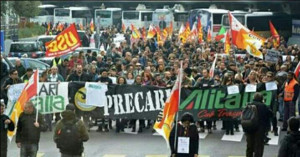 """Die bisher letzte Demo der Alitalia Beschäftigten im Juli 2017 gegen den """"Sanierungspakt"""""""