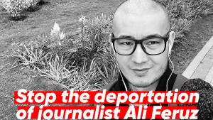 Das Plakat zur Solidarität mit Ali Feruz gegen seine Ausweisung aus Russland nach Usbekistan