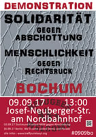 "Solidarität gegen Abschottung – Menschlichkeit gegen Rechtsruck. Demonstration in Bochum am 9.9. im Rahmen der Aktionswochen ""We'll come united!"""