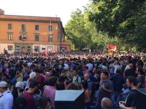 Solidemo mit zwangsgeräumten Flüchtlingen in Rom am 26.8.2017
