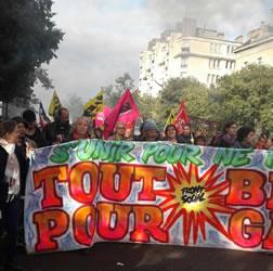"""Paris gestern: Abordnung des """"Front social"""" (Zusammenschluss linker bis linksradikaler Gewerkschaftsflügel). Foto von Bernard Schmid vom 12.9.2017"""