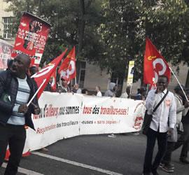 """Paris, gestrige Mobilisierung: Demoblock der """"Travailleurs sans papiers"""" (Undocumented Workers ). Foto von Bernard Schmid vom 12.9.2017"""