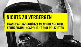 Kampagne für Kennzeichnungspflicht für Polizisten von Amnesty Polizei