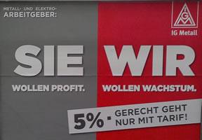 """""""Metall- und Elektro-Arbeitgeber: Sie wollen Profit. Wir wollen Wachstum"""" (IG Metall 2016). Foto: Wolfgang Schaumberg"""