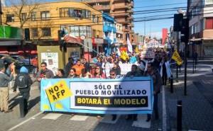 Demonstration gegen private Rentenversicherung in Concepcion, Chile am 3.9.2017
