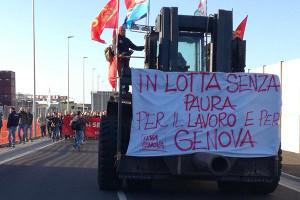 Stalarbeiter Protest gegen 4.000 Entlassungen in Genua am 9.10.17