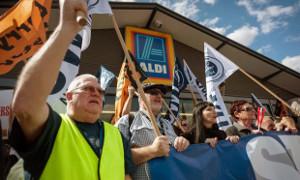 Aldi-Fahrer protestieren in Sydney am 12.10.2017