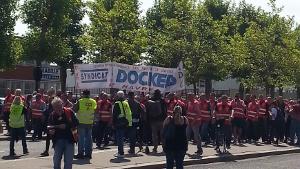 Docker aus Le Havre demonstrieren gegen das neue Arbeitsgesetz Macrons September 2017
