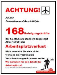 Solidarität mit den Klüh-ReinigerInnen! Für Übernahme und Weiterbeschäftigung am Düsseldorfer Airport!