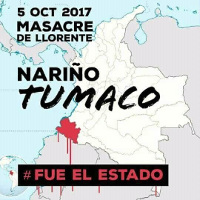 Kolumbianisches Protestplakat gegen Armeemorde an Kokabauern 7.10.2017