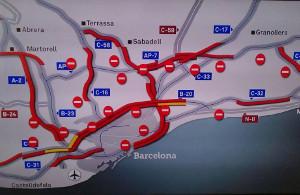 Blockaden in Katalonien am Generalstreiktag 8.11.2017 um 11 Uhr